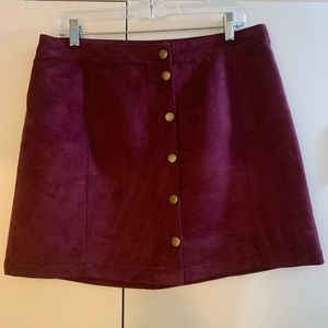 Faux Suede Skirt with Buttons